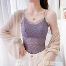 蕾絲打底衫 夏季女士韓版打底衫百搭短款小背心大碼內搭上衣抹胸薄款蕾絲吊帶 智慧e家 新品