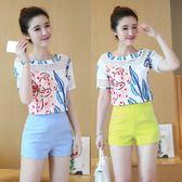 韓版小香風氣質淑女雪紡短褲夏天時尚兩件套潮LJ4761『黑色妹妹』