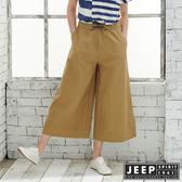 【JEEP】女裝 棉麻休閒八分寬褲-卡其色