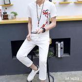 棉麻男裝套裝2019夏季新款短袖t恤一套唐裝中國風亞麻刺繡兩件套 QG21190『Bad boy時尚』