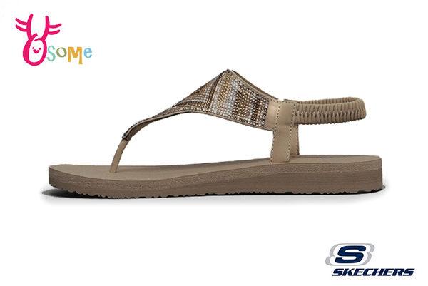 Skechers MEDITATION GYPSY GLAM 成人女款 涼鞋 Q彈觸感 圖驣水鑽 夾腳拖 人字拖 R8251#咖啡◆OSOME奧森鞋業
