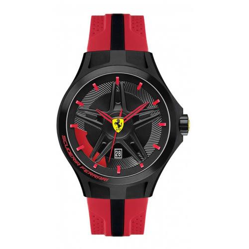 FERRARI 速度野星鋼膠帶腕錶/紅膠帶/0830159