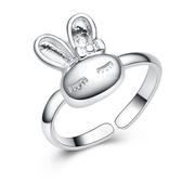 925純銀戒指 鑲鑽-可愛兔子生日母親節禮物女配件73an102【巴黎精品】