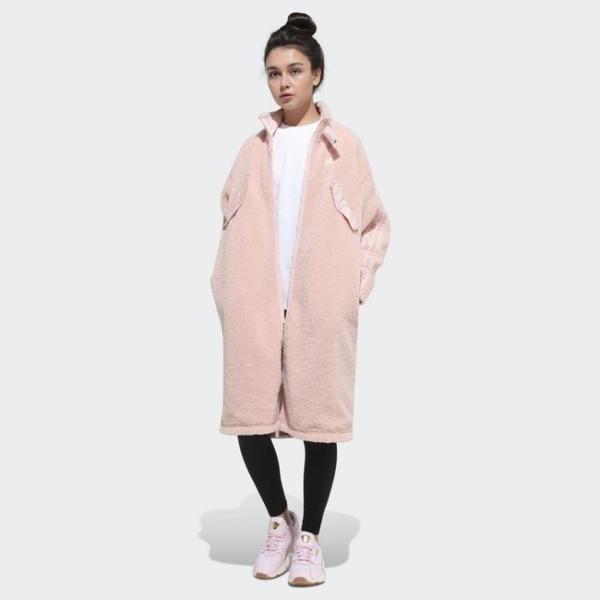 【12周年慶跨店折後$4880】ADIDAS ORIGINALS 粉色 外套 長版 雙面 刷毛 百搭 休閒 運動 女款 GK8557