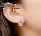 耳環 現貨 韓國氣質甜美閃亮立體花朵水晶...