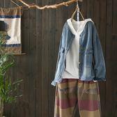 港風刺繡牛仔外套短版寬鬆上衣/設計家Y4909
