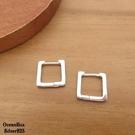 §海洋盒子§簡約亮面方形易扣925純銀針式耳環 (外鍍專櫃級正白K.圈圈耳環)