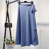 韓版系帶高腰雪紡一片式半身裙女夏中長款a字沙灘裹裙子