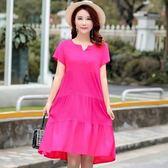 大尺碼媽媽連身裙 氣質純棉綢闊太太連身裙夏中長款大碼洋氣40一50歲人造棉媽媽裙子 玫瑰