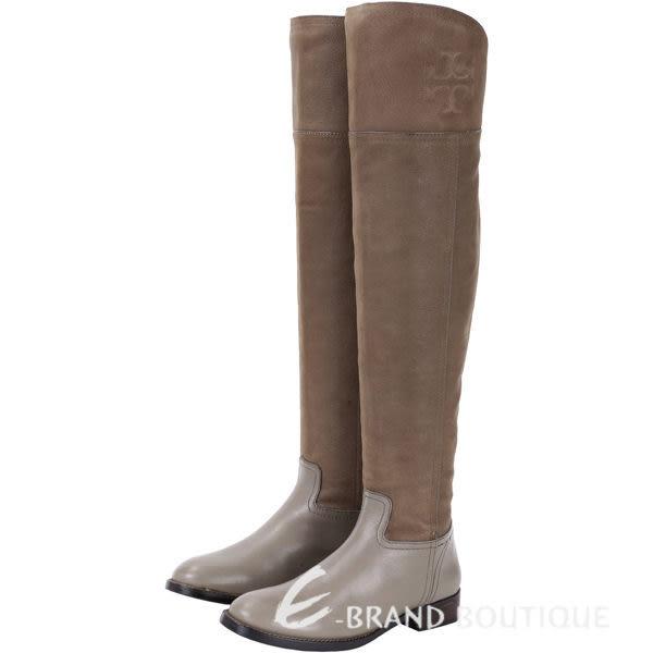 [ NG大放送 ]TORY BURCH SIMONE OVER灰棕色拼接設計膝上長靴 1590083-63