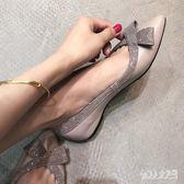 低跟尖頭鞋秋季新款百搭蝴蝶結單鞋平底淺口一腳蹬 zm7860『俏美人大尺碼』