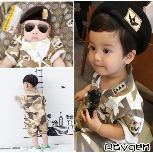 太陽的後裔同款 兒童迷彩服 哈衣 包屁衣 嬰兒 短袖連體衣 小童裝