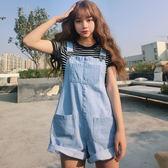 夏季新款韓版牛仔背帶短褲女學生卷邊潮 JD141 【男人與流行】