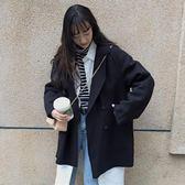 秋冬女裝2018新款韓版中長款BF風寬鬆毛呢外套赫本風休閒呢子大衣