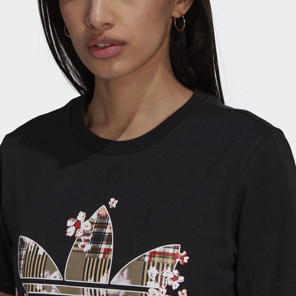 ADIDAS HER STUDIO LONDON 女裝 短袖 休閒 花卉 格紋 印花 純棉 黑【運動世界】H20460