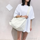 健身包 韓國原創輕便帆布包側背斜背包女休閒百搭大容量行李袋健身包書包-完美