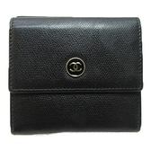 CHANEL 香奈兒 黑色牛皮短夾 Coco Button Compact Wallet【二手名牌 BRAND OFF】