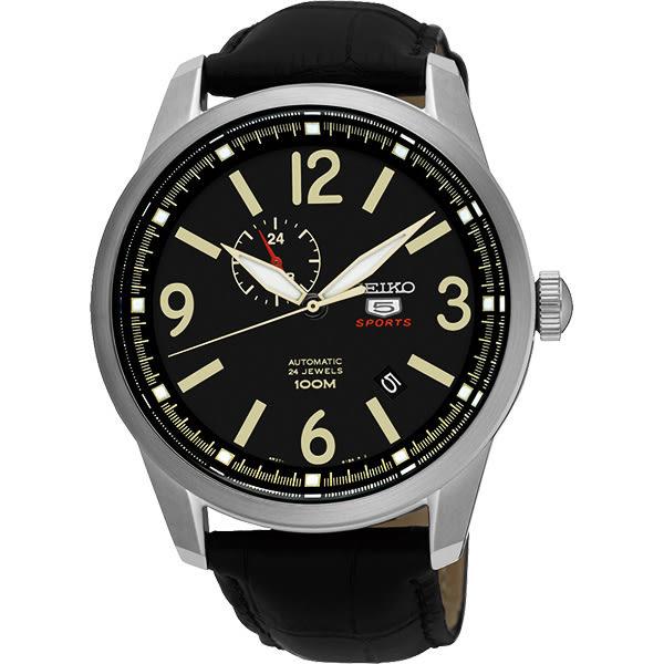 SEIKO 精工 5號盾牌24石紳士風機械錶-黑/42mm 4R37-01D0L(SSA297J1)