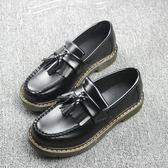 牛津鞋 黑色復古英倫學院風流蘇平底牛筋底小皮鞋單鞋〖米娜小鋪〗