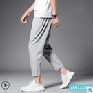 褲子男士夏季冰絲運動休閒褲寬鬆直筒九分褲春夏薄款空調速乾長褲 韓國時尚週