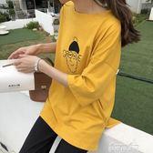 春夏韓版中長款圓領印花T恤韓國寬鬆chic顯瘦百搭打底上衣學生女