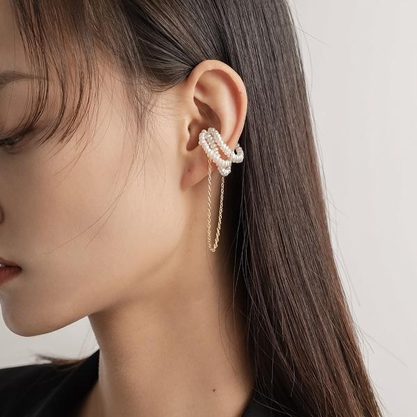 新品韓國珍珠流蘇耳夾女無耳洞優雅氣質復古鏈條吸鐵磁耳環耳飾