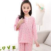 夏季棉綢兒童小孩睡衣套裝男孩女童綿綢長袖長褲薄空調家居服寶寶禮物限時八九折