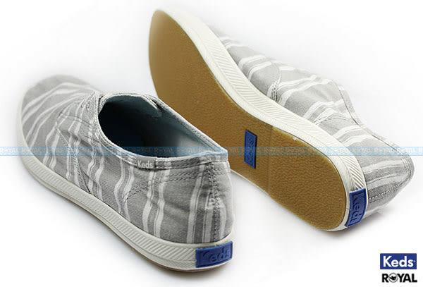 Keds 新竹皇家 CHILLAX GREY 灰/白 水洗布 條紋 休閒 懶人鞋 男款 NO.A7850