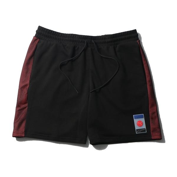 PUMA 短褲 DECPR8 黑紅 橡膠LOGO 短棉褲 男 (布魯克林) 53108501