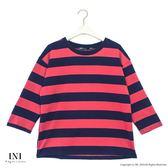 【INI】青春氣息、色彩配色條紋上衣.豆沙色