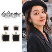 大氣黑色耳釘女氣質韓國簡約精致小耳墜新款時尚耳夾純銀耳環