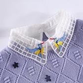假領子針織外套  雪紡紗刺繡飛鳥襯衫 洋裝大學T針織衫外套內搭[E1249] 預購女裝上衣.朵曼堤洋行