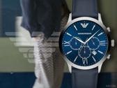 【時間道】EMPORIO ARMANI亞曼尼 都會紳士三眼計時腕錶/藍面深藍皮帶(AR11226)免運費