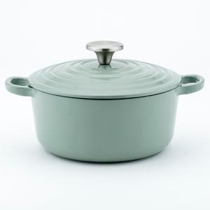 HOLA Amour亞莫鑄鐵琺瑯湯鍋20cm 月桂綠 2.5L 馬卡龍色 雙耳 不挑爐