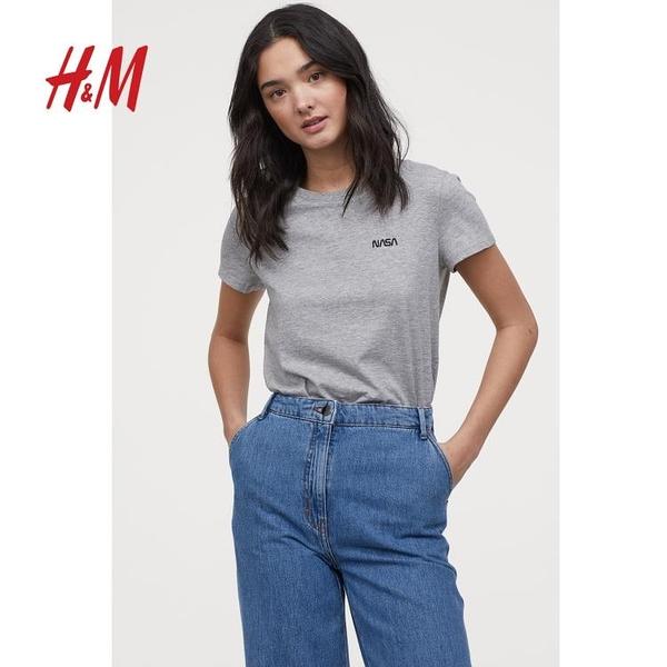 HM DIVIDED女裝春裝新款基礎款上衣白色T恤女短袖寬鬆0717490 星河光年