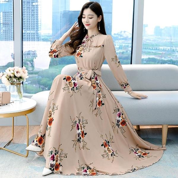 大碼印花洋裝 波西米亞氣質連身裙女神范2021新款顯瘦長袖大擺碎花雪紡長裙 百分百