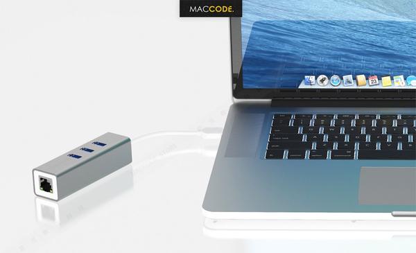 Satechi USB 3.0 To Ethernet 乙太網路 + 3孔USB 3.0 擴充 轉接線