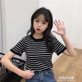 短袖t恤女夏裝韓版學生修身顯瘦條紋針織衫ins潮超火的上衣服體恤  朵拉朵衣櫥