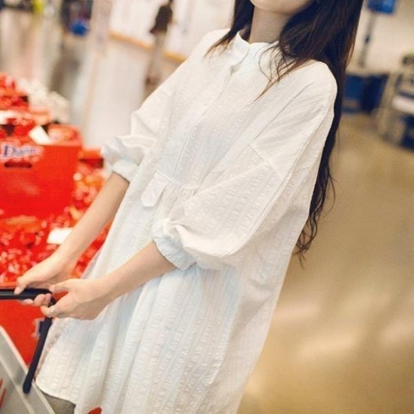 漂亮小媽咪 質感洋裝 【D0205】 押花 落肩 九分 長袖 立領 襯衫 孕婦裝 孕婦 襯衫洋裝 長版襯衫
