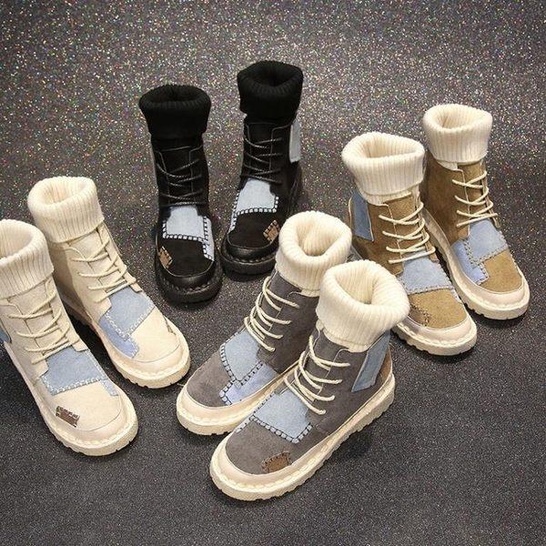 馬丁靴女新款秋chic英倫風學生韓版百搭中筒靴子毛線口短靴女