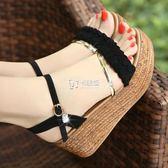 高跟鞋 韓版坡跟涼鞋中跟新款高跟百搭學生魚嘴厚底鬆糕平底女鞋 卡菲婭
