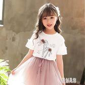女童t恤純棉2019夏季新款洋氣白色半袖衫寬鬆兒童休閒短袖時尚xy1253【原創風館】