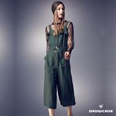 【SHOWCASE】吊帶荷葉翻領高腰顯瘦寬管連身褲(綠)
