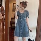 牛仔洋裝女夏法式小眾氣質收腰小個子泡泡袖長短款裙子大碼短袖 【端午節特惠】