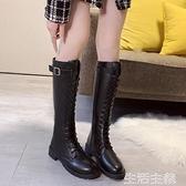 膝上靴 皮靴秋冬新款中筒靴騎士長筒加絨高筒馬丁百搭女鞋不過膝長靴 生活主義