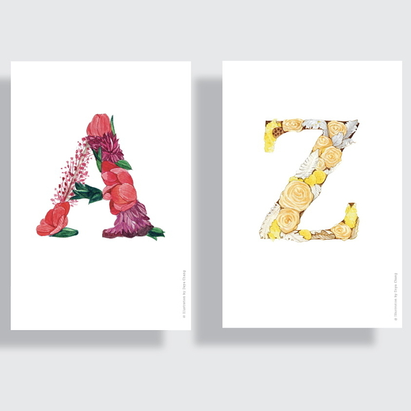 一筆一筆旅行 A to Z Floral Alphabet post card(單張)