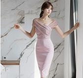 禮服 禮服裙女宴會性感氣質露揹網紗拼接修身顯瘦斜肩洋裝2020新款夏