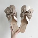 包頭半拖鞋女外穿夏季新款蝴蝶結平底穆勒鞋復古淑女網紅涼拖 享購