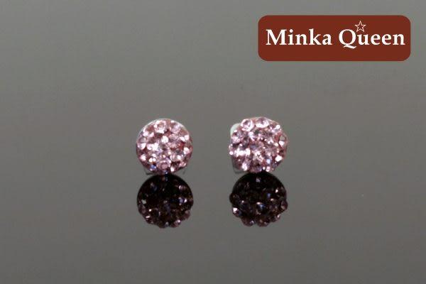 德國鈦鋼 滿鑽式水鑽球造型 淺粉紅精緻水鑽抗敏耳環(一對)(6 mm)