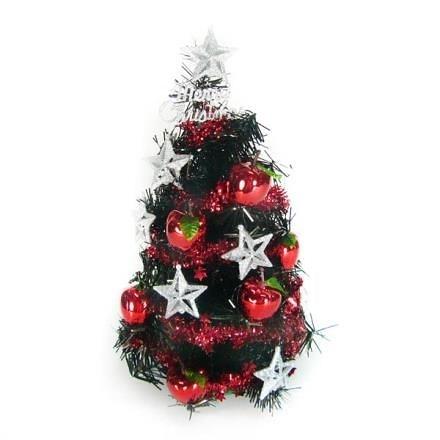 【南紡購物中心】【摩達客】台灣製1尺黑色聖誕樹+銀星紅果裝飾